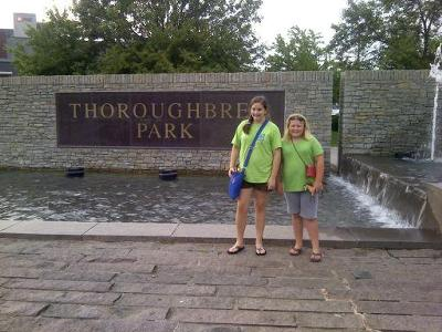 I am the one with brown hair! Here we are at the thoroughbred park in lexington!