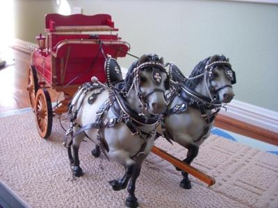 2 dapple grey Breyer Belgians w/ handmade cart & harness